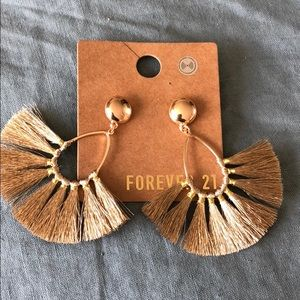 Tassel fringe gold earrings